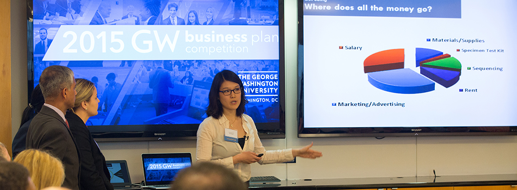 Presenting at the GW Business Plan Competition.