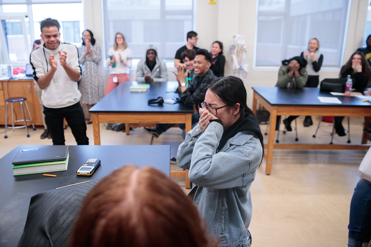 At Capital City Charter High School, Aly Nguyen was overwhelmed with emotion. (Harrison Jones/GW Today)