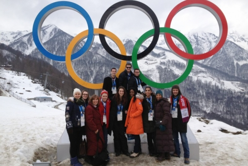 Professor Lisa Delpy Neirotti leads students to the Olympics as part of a sports management class.