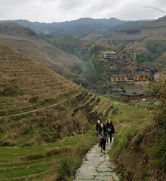 GW Global Programs students hike near Longshi Rice Terraces near Guilin, China