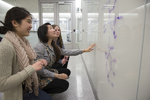 Students Jennifer B Lee, Hannah Yi, and Samantha Starr work on organic chemistry using one of the many writable surfaces in the Science and Engineering Hall.