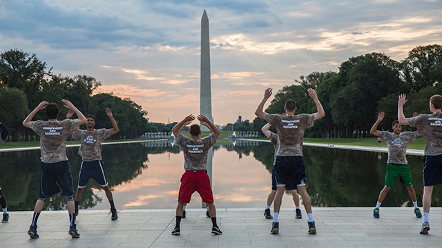 Athletes training at the Lincoln Memorial