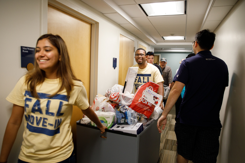 Students help with move-in day.
