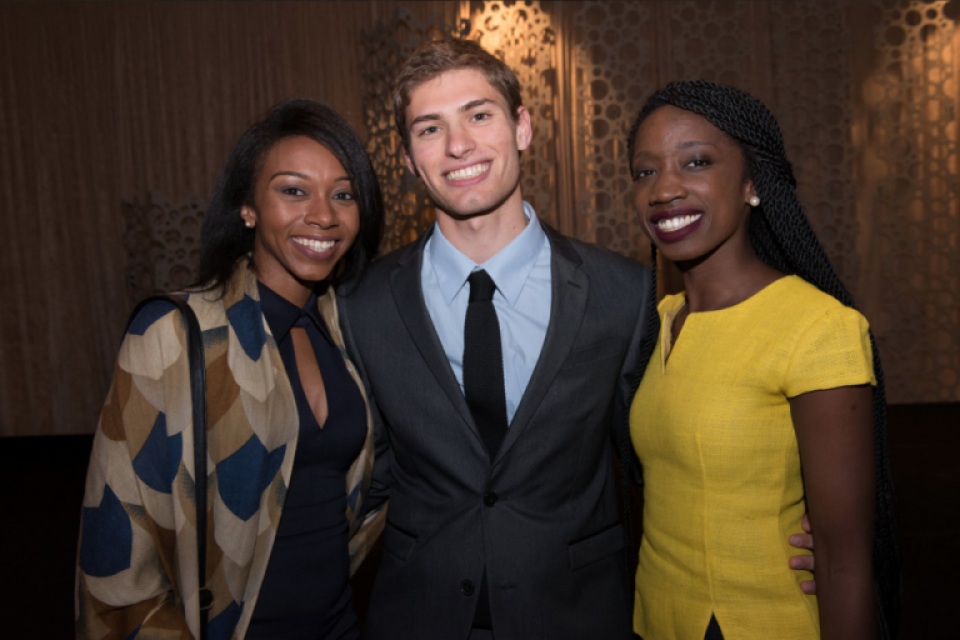 Current students Demetria Clark and Moshe Pasternak and alumna Sally Nuamah, B.A. '11, spoke at the Power & Promise Dinner.