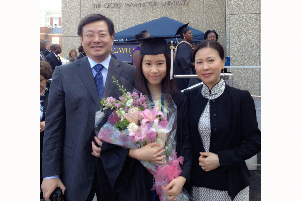 GW parents Jian Zhang and Min Shi and their daughter Isabella Zhang, GWSB B.Accy '14