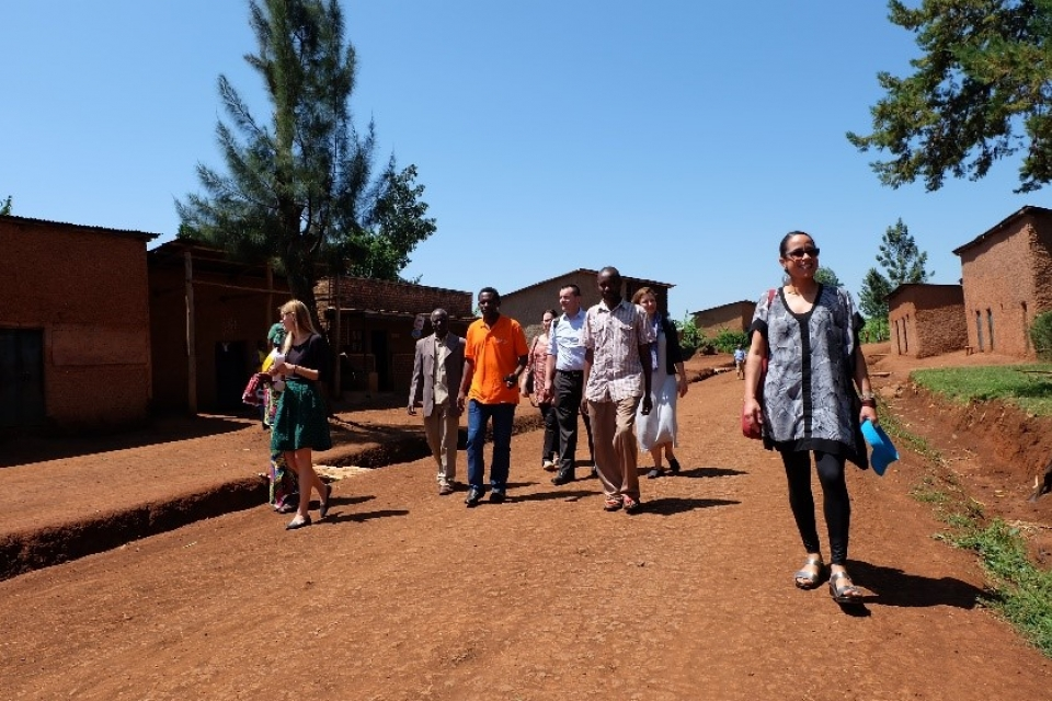 Health Equity Fellows with community health workers in Rwanda