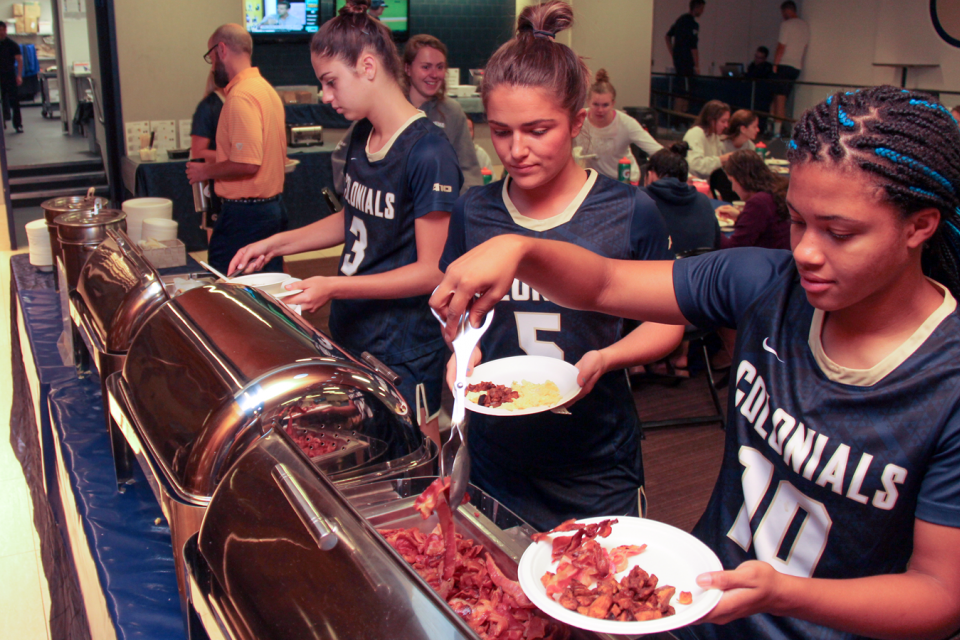Student-athletes enjoy Training Table breakfast 148 days per year.