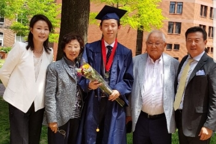Kim family at graduation of Russell Kim '18