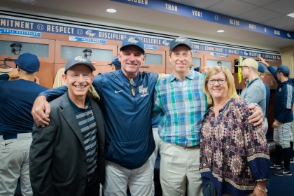Ave Tucker, BBA '77, Coach Ritchie, and parents Dave and Tam Fassnacht P '20