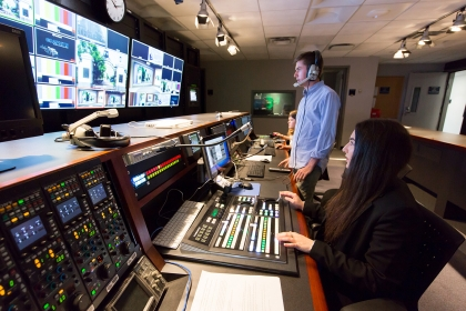 An SMPA studio control room is shown. The IDDP will assist journalists develop stories that correct distorted public narratives.