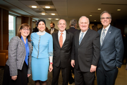 From left: Dr. Erica Brown, Manette Mayberg, Louis Mayberg, President Steven Knapp, and Dean Michael Feuer at the Mayberg Center