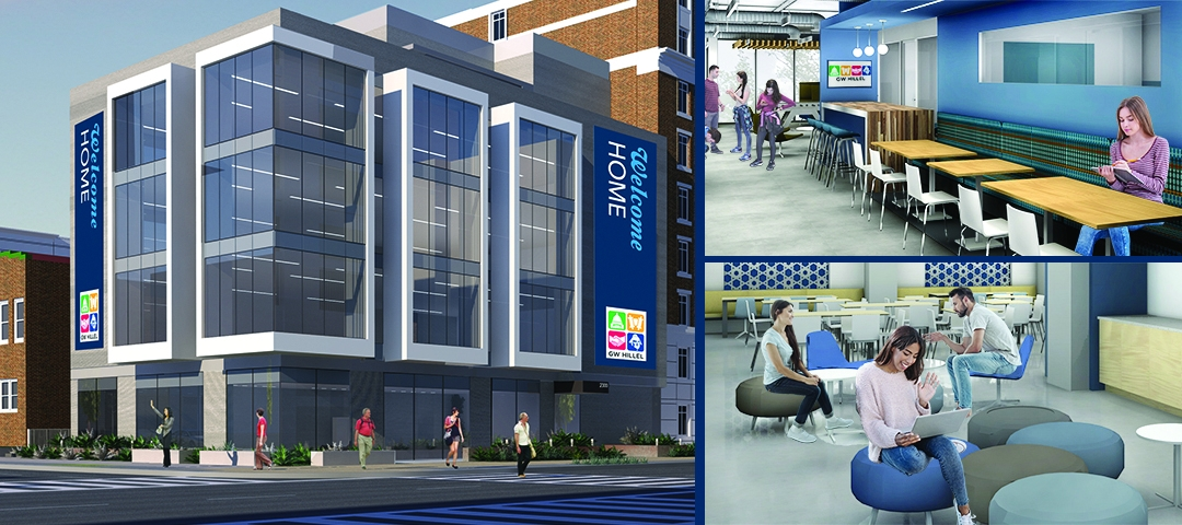 Multiple renderings of the new GW Hillel Building, including an exterior rendering and 2 interior renderings