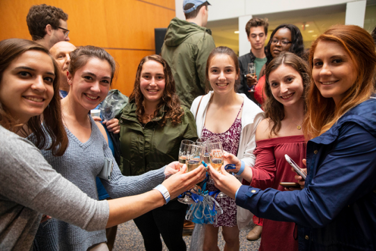 Graduating seniors celebrated their time at George Washington University during the annual senior class toast. (Logan Werlinger)